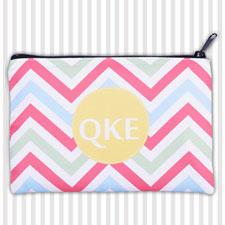 Coral Lime Green Chevron Personalized Coin Purse