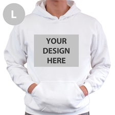 Personalized Custom Full Front No Zipper White Large Size Hoodie Sweatshirt