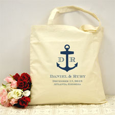 Personalized Navy Blue Nautical Anchor Cotton Tote Bag