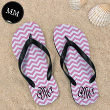 Design My Own Pink Chevron Pattern With Personalized Name, Men Medium Flip Flop Sandals