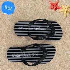 Design My Own Chic Black Stripes With Name, Kids' Medium Flip Flops
