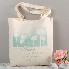 Aqua Destination Wedding Palm Tree Custom Cotton Tote Bag