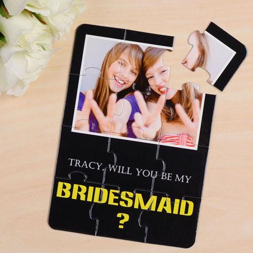 Elegant Black Will You Be My Bridesmaid Invitation Puzzle