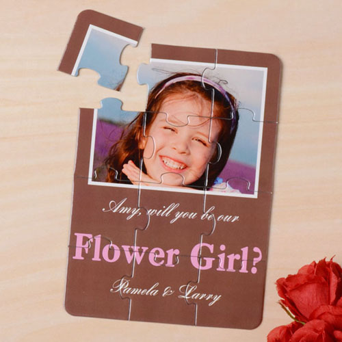 Brown Will You Be My Flower Girl Invitation Puzzle