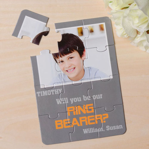 Personalized Gray Will You Be My Ring Bearer Invitation Puzzle