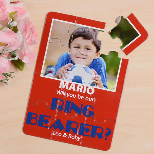 Personalized Red Will You Be My Page Boys Invitation Puzzle