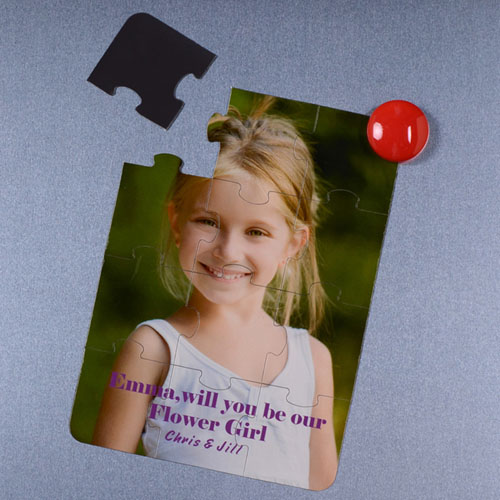 Personalized Magnetic Will You Be My Flower Girl Invitation Puzzle
