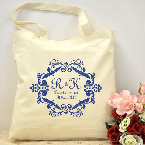 Royal Blue Swirl Border Personalized Wedding Bag