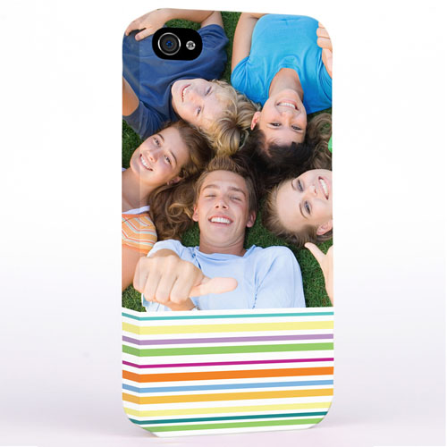 Personalized Colorful Stripes Photo iPhone 4 Hard Case Cover