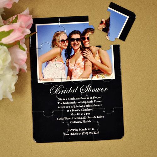 Personalized Black Bridal Shower Puzzle Invite