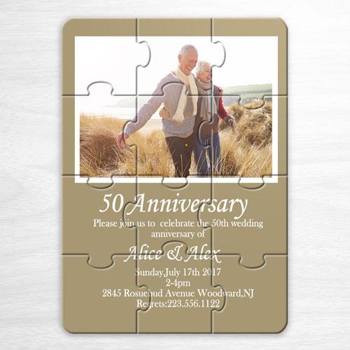 Personalized Gold Wedding Photo Puzzle Invite