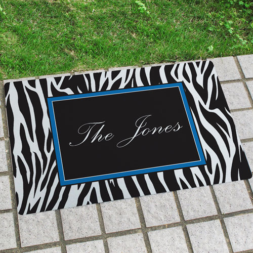 Zebra Print Personalized Name Door Mat