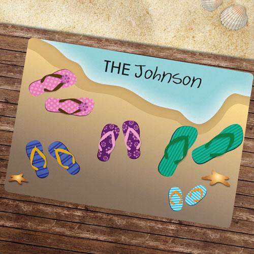 Five Flip Flops Personalized Doormat