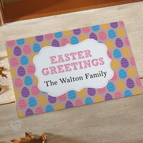 Easter Greetings Personalized Doormat