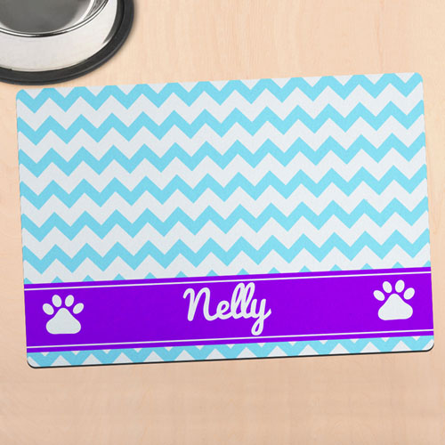 Sky Chevron Personalized Pet Meal Mat