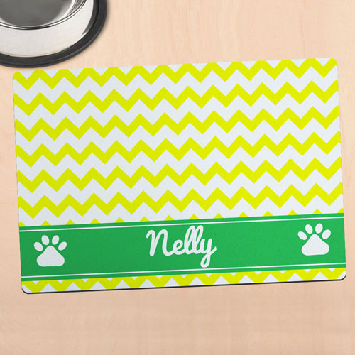 Yellow Chevron Personalized Pet Meal Mat