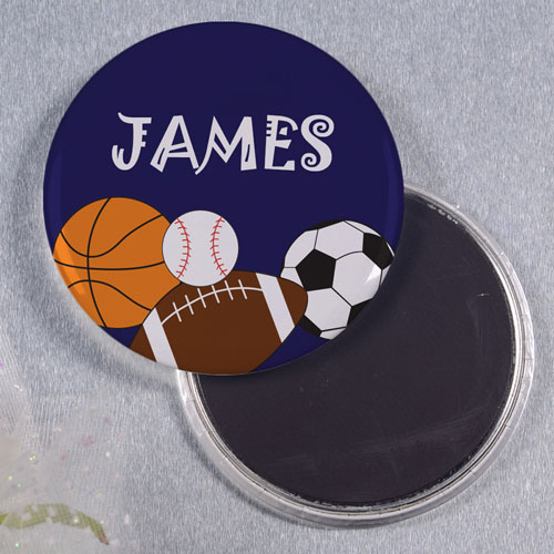 Navy Sports Personalized Round Button Magnet