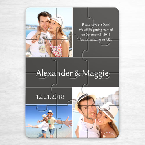 Custom My Save The Date Puzzles, 3 Pictures Collage Grey Invitation Puzzle