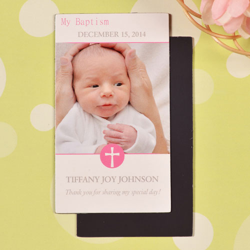 DIY Baby Girl Blessed Baptism Photo 2x3.5 Card Size Magnet