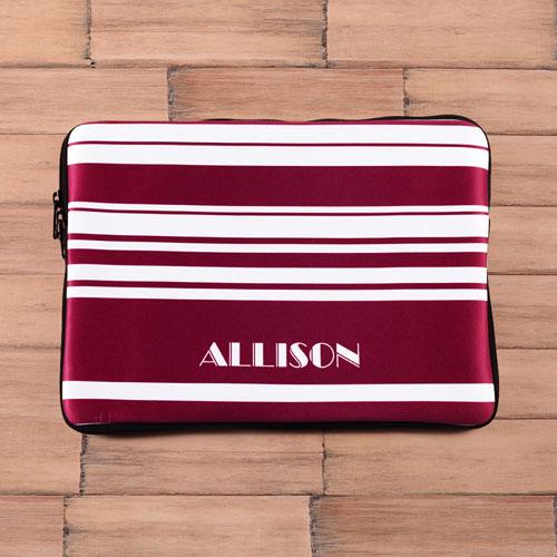 Personalized Name Purple Stripes Macbook Air 13 Sleeve