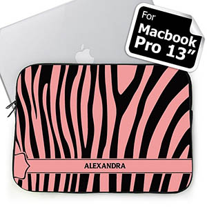 Personalized Name Black & Pink Zebra Pattern Macbook Pro 13 Sleeve (2015)
